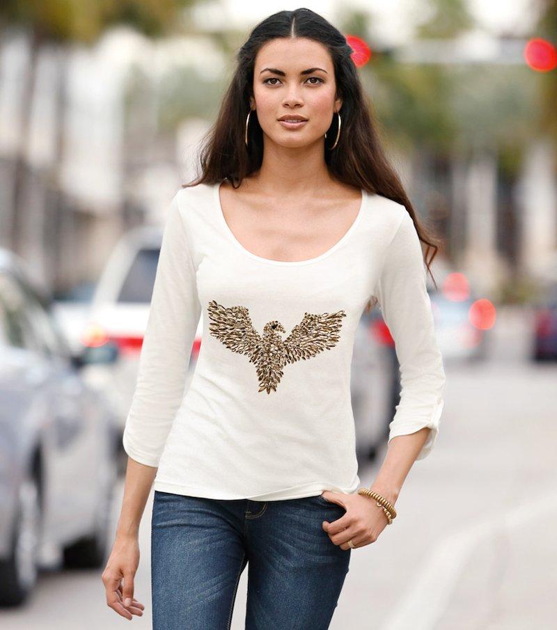 Camiseta mujer mana 3/4 con pedrería - Beige