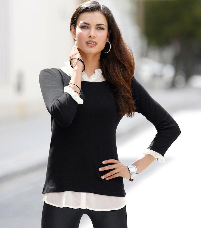 Camiseta camisa mujer manga larga efecto doble