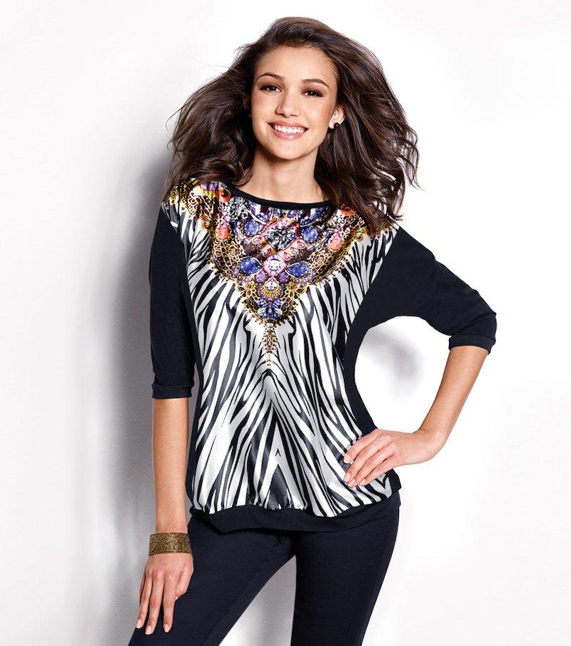 Camiseta mujer manga 3/4 estampado satén