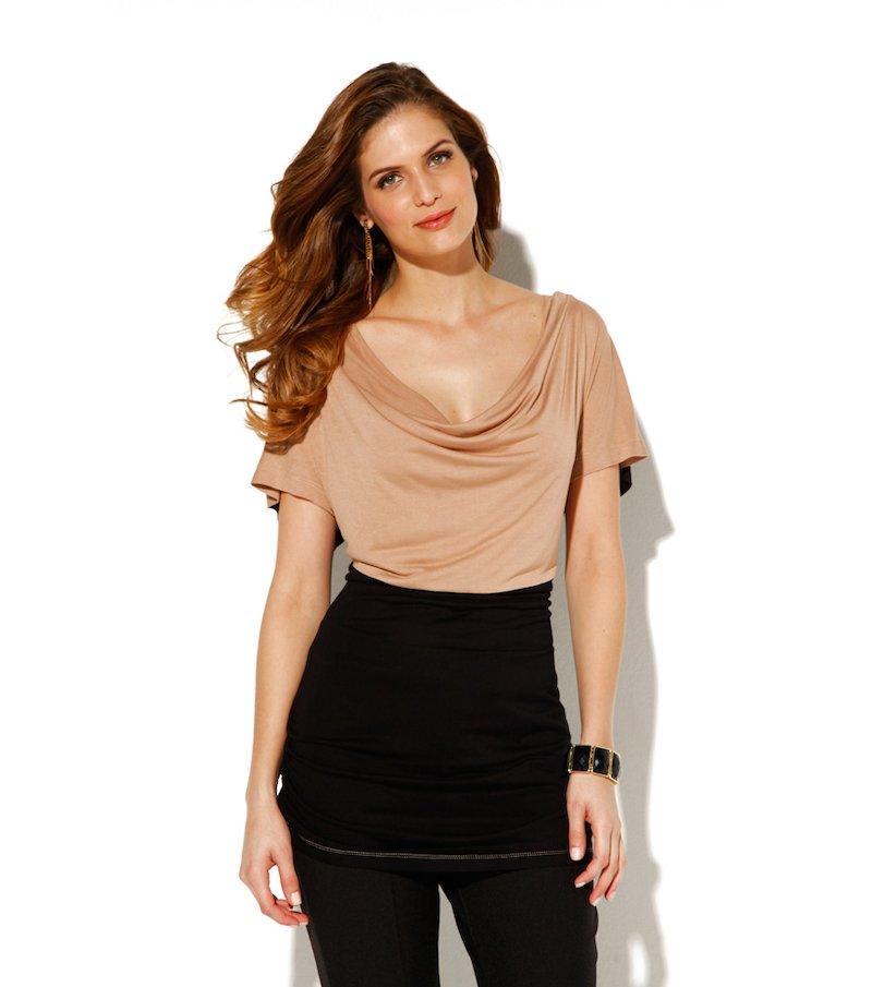 Camiseta mujer manga corta bicolor