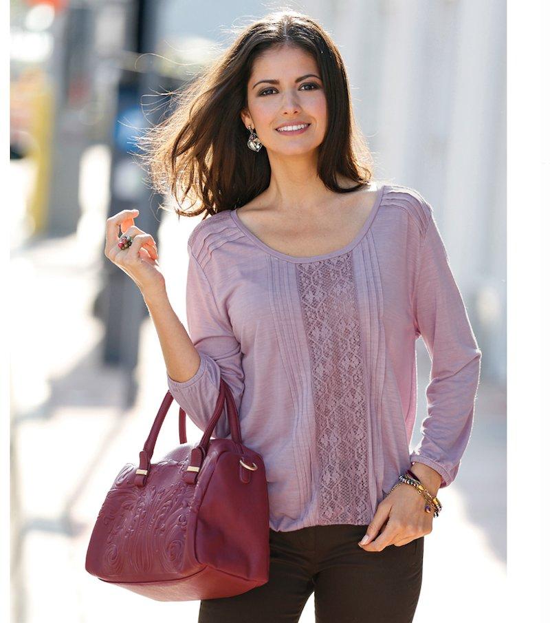 Camiseta mujer manga 3/4 con jaretas y puntillas