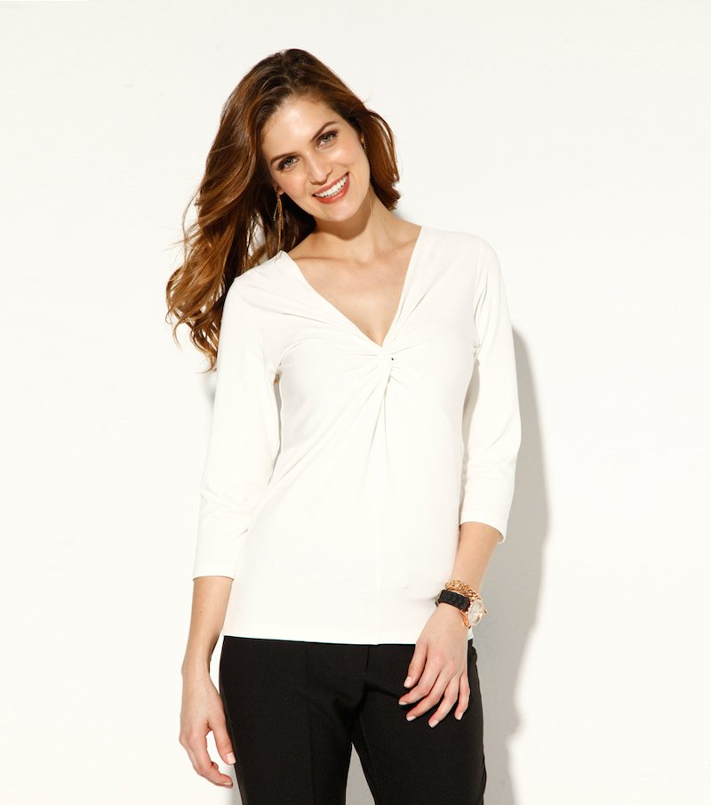 Camiseta mujer manga 3/4 punto elástico estampada - Beige