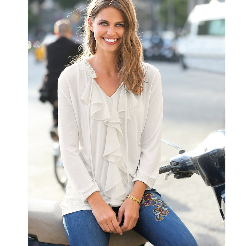 Camiseta mujer manga 3/4 con chorreras punto elástico