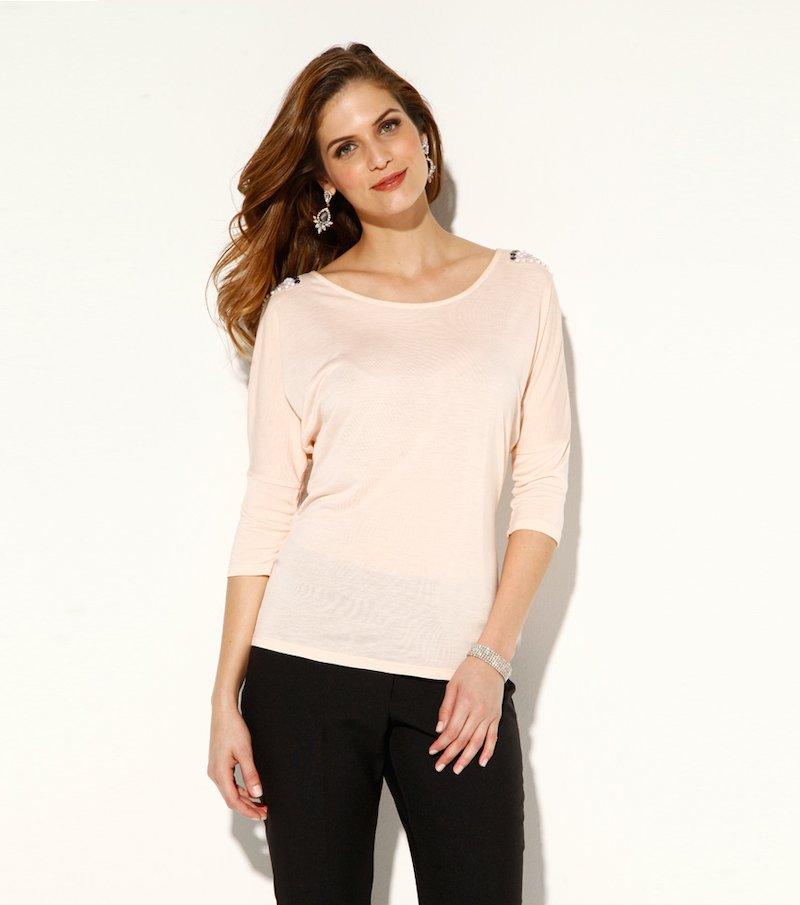 Camiseta de fiesta mujer manga 3/4 con pedrería - Rosa