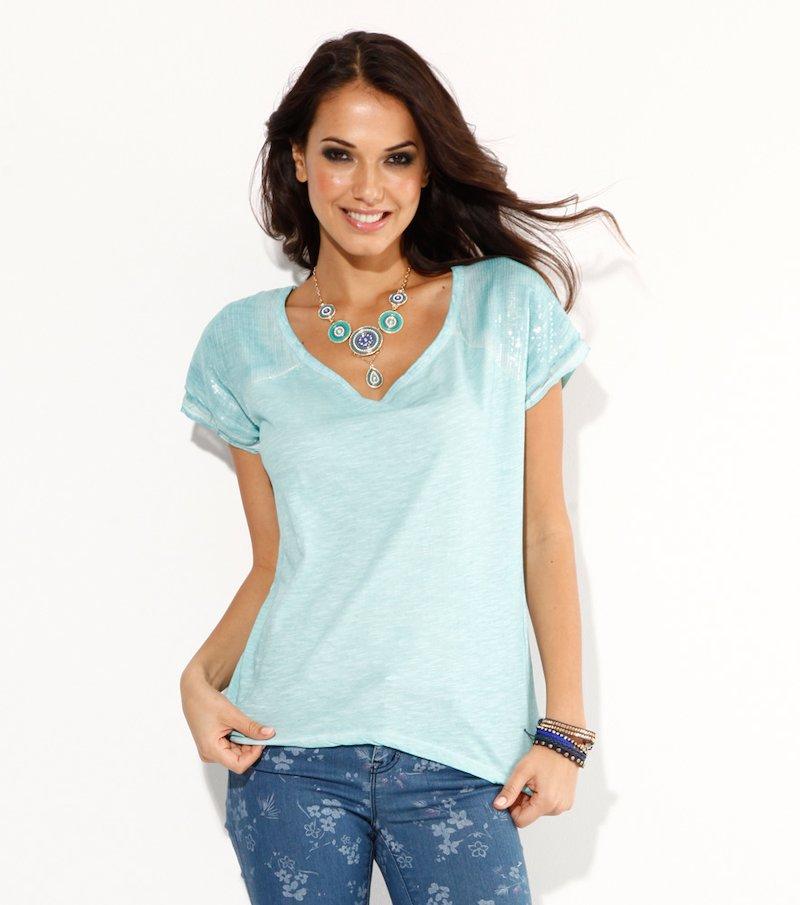 Camiseta mujer con lentejuelas