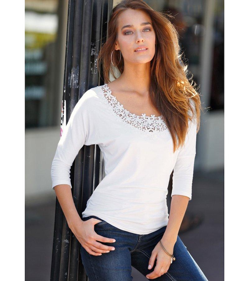 Camiseta mujer manga 3/4 con guipur