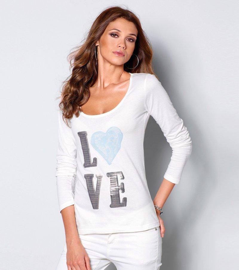 Camiseta mujer manga larga estampado lentejuelas
