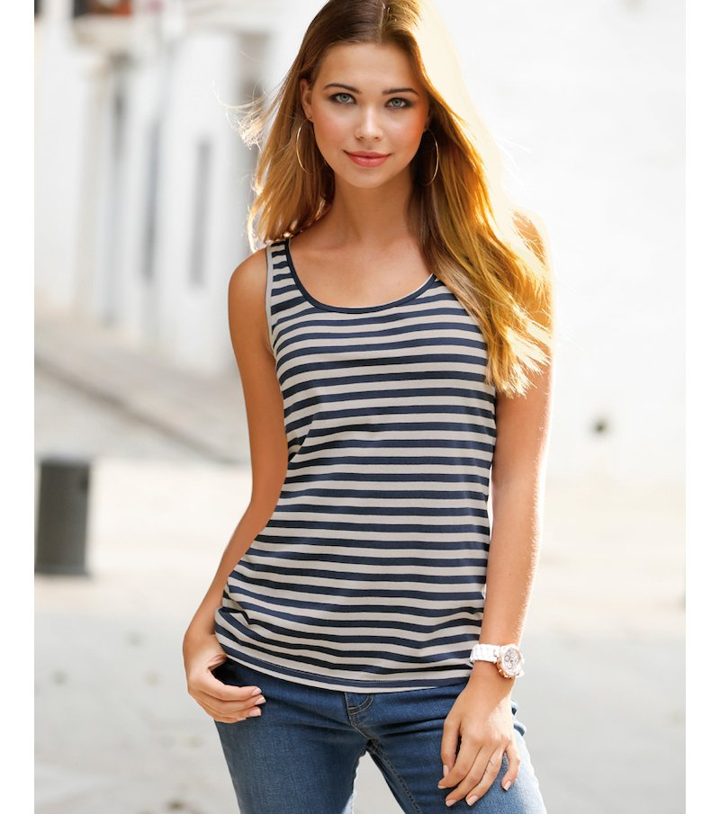 Camiseta mujer sin mangas rayas