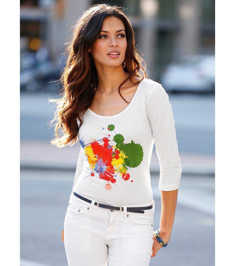 Camiseta mujer manga 3/4 con estampado