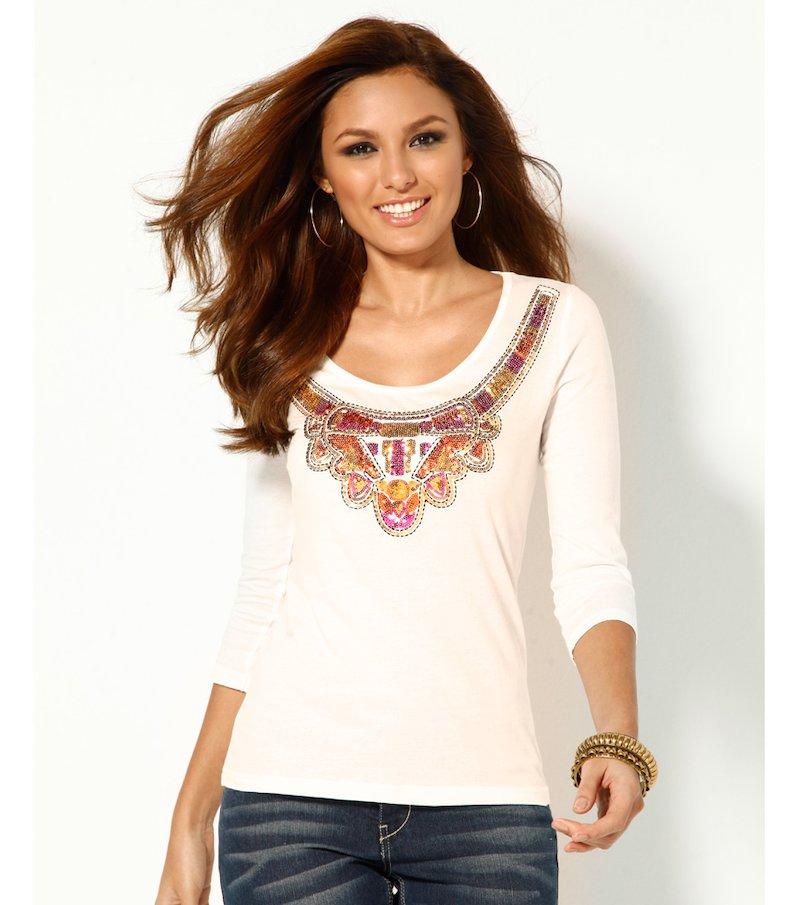 Camiseta mujer manga 3/4 con lentejuelas bordadas