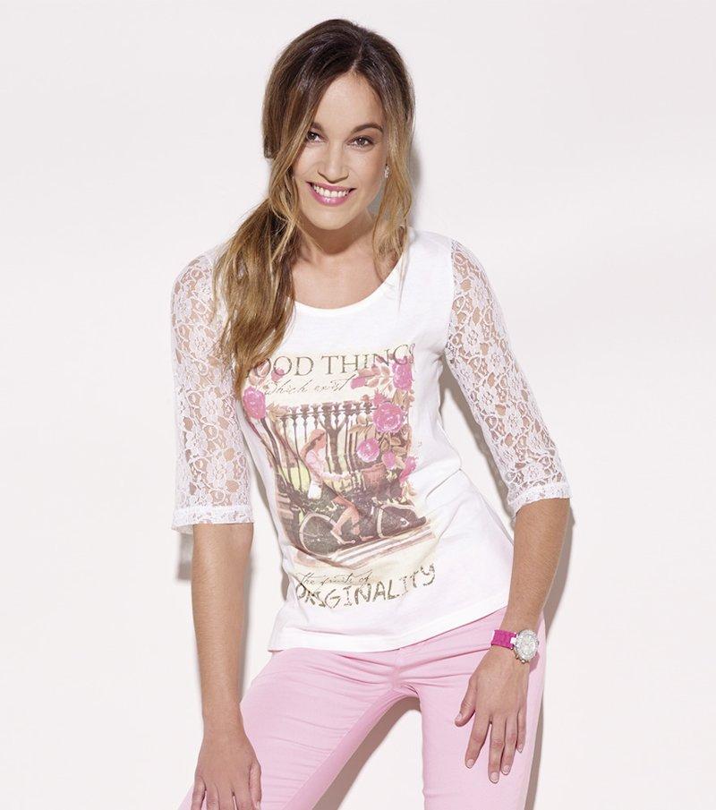 Camiseta mujer manga 3/4 con encaje estampada