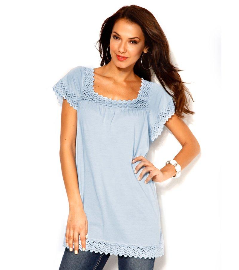 Camiseta mujer manga corta con guipur