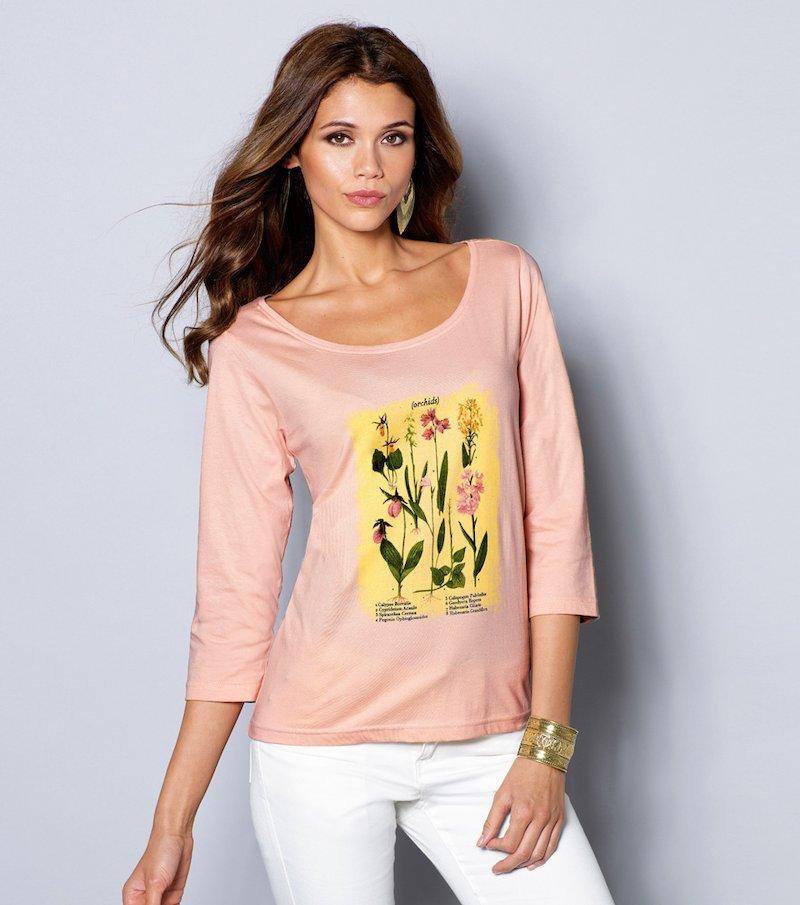 Camiseta para mujer manga 3/4 estampado