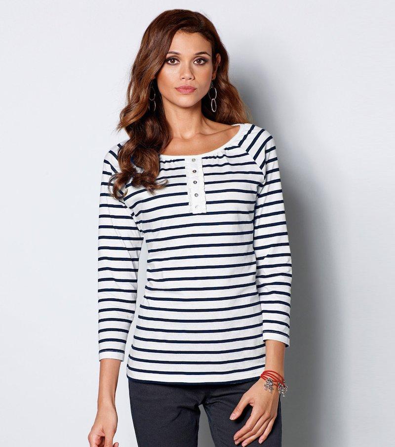 Camiseta mujer manga 3/4 rayas marineras - Crudo