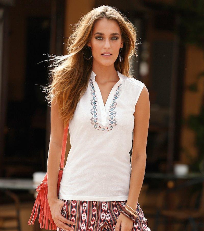 Camiseta mujer sin mangas con estampado étnico - Crudo