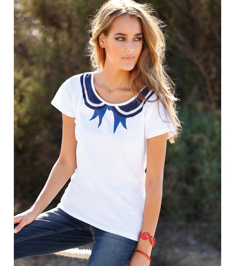 Camiseta mujer manga corta marinera