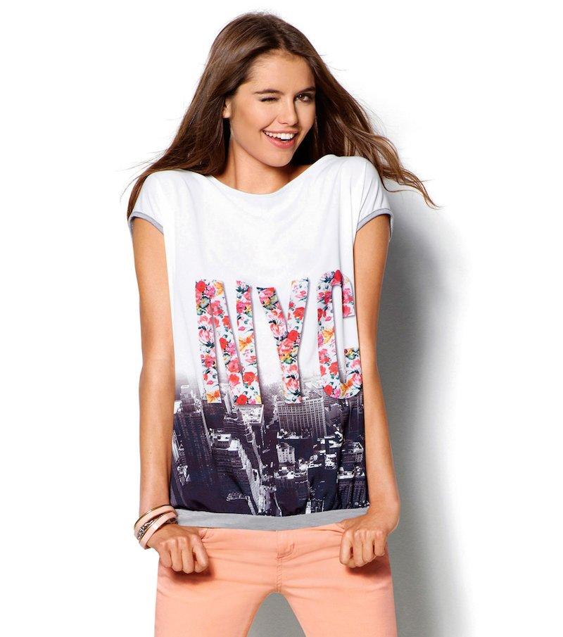 Camiseta mujer manga corta estampada en satén - Blanco