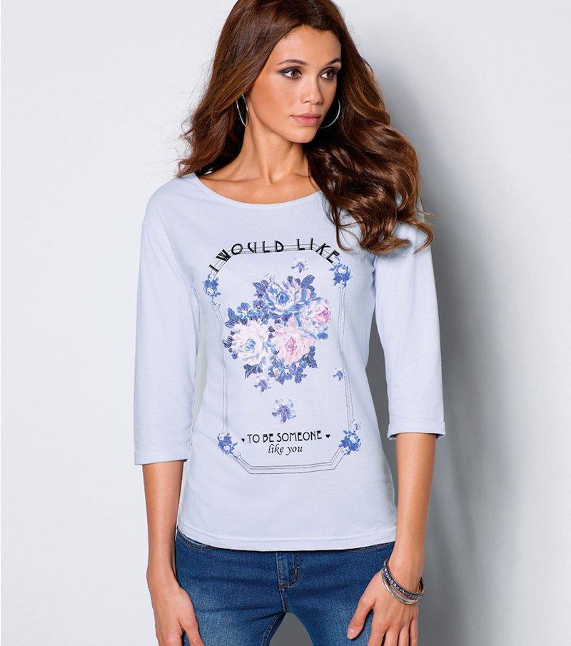Camiseta mujer estampada flores y mensaje
