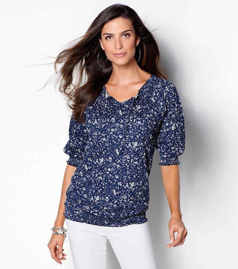 Camiseta mujer manga 3/4 estampada azul y blanco