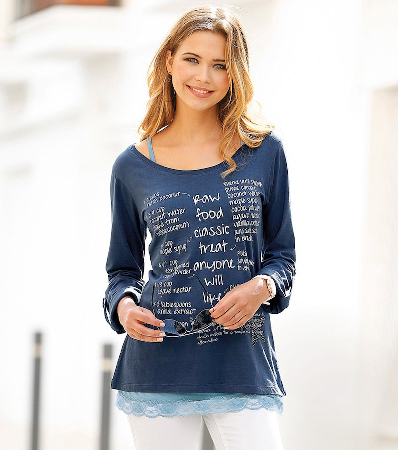 Camiseta mujer manga regulable con strass