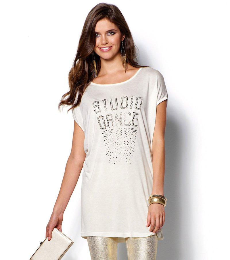Camiseta mujer manga corta con strass