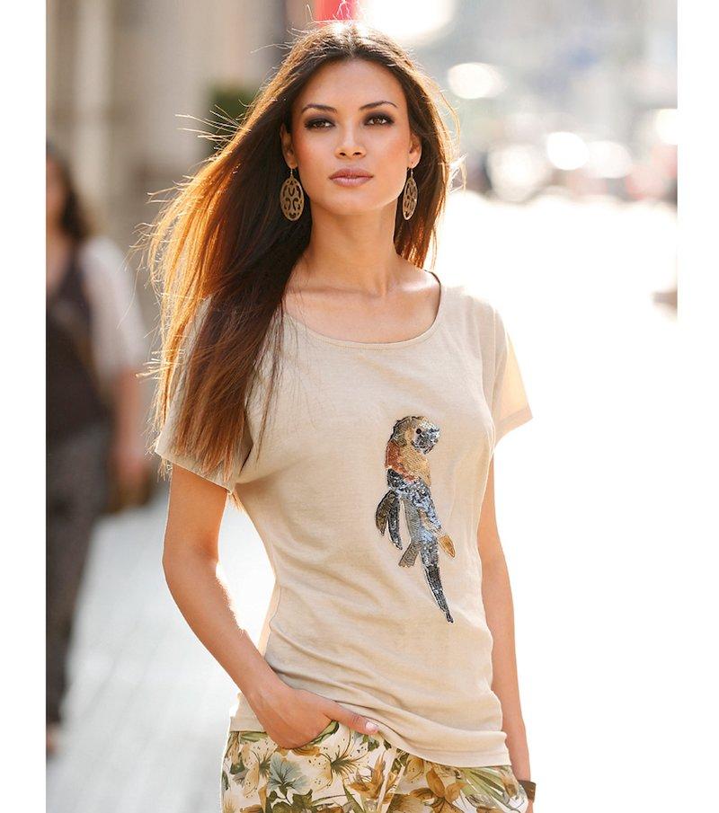 Camiseta mujer manga corta con lentejuelas loro