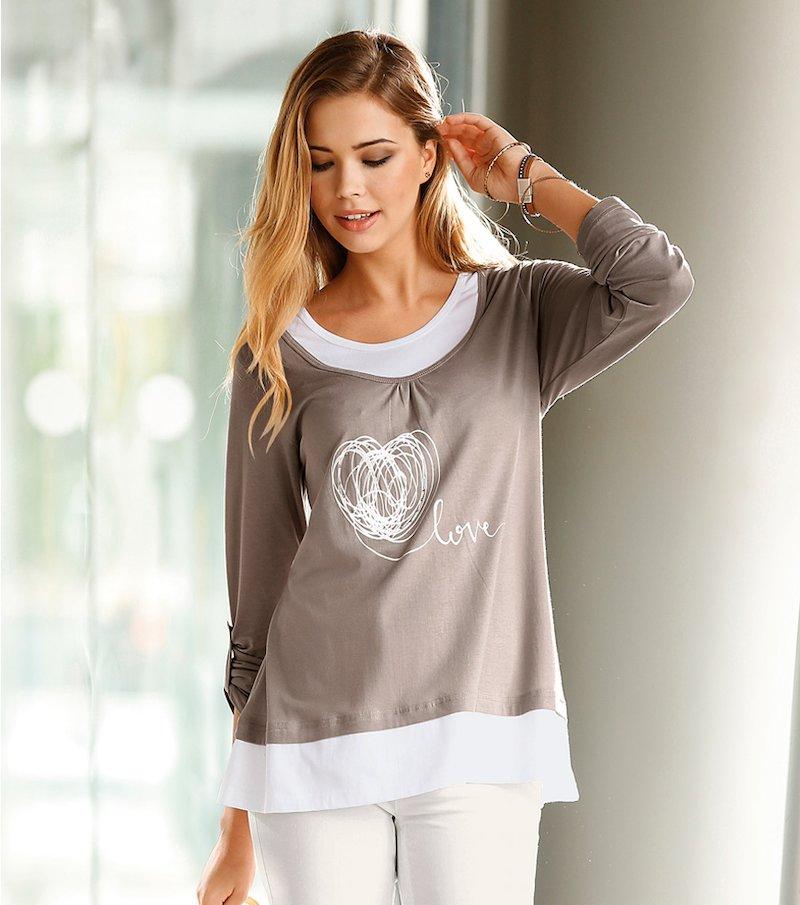Camiseta mujer manga larga efecto doble con strass - Marrón