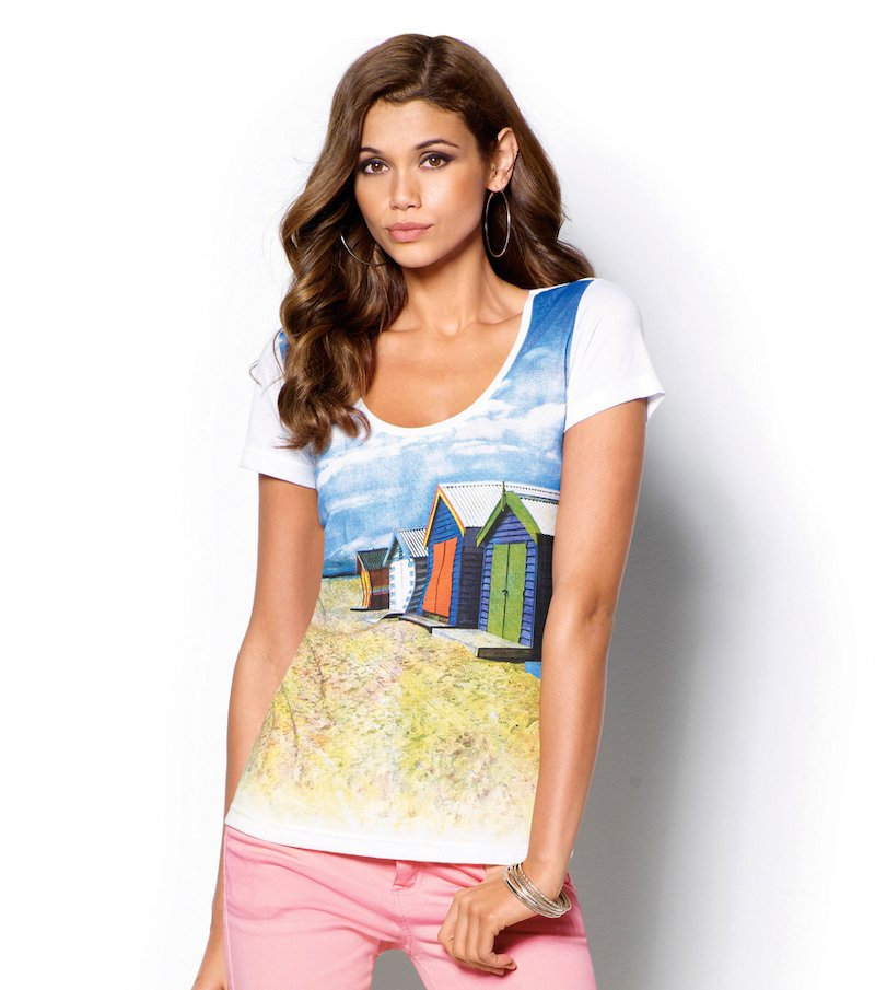 Camiseta mujer manga corta estampada costa