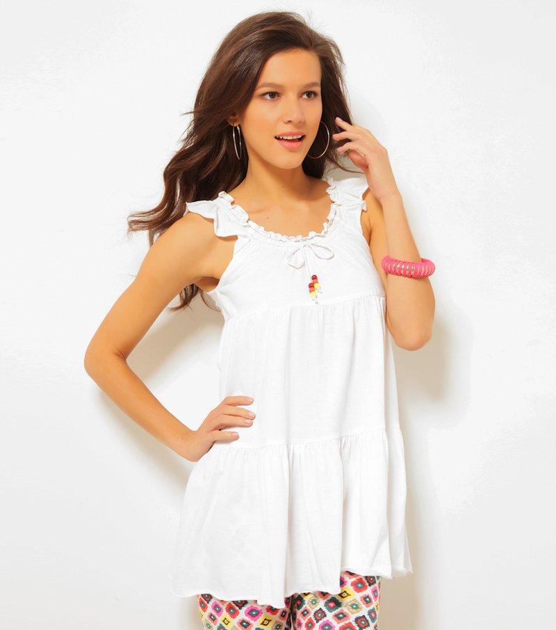 Camiseta mujer sin mangas con volantes - Blanco