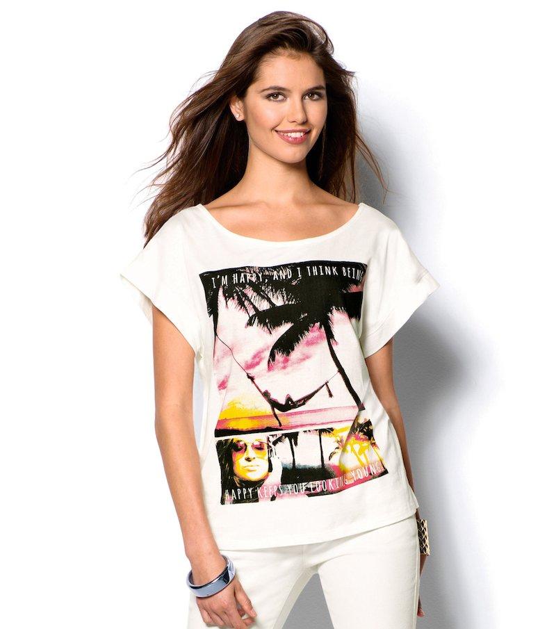 Camiseta mujer manga corta estampada paraíso
