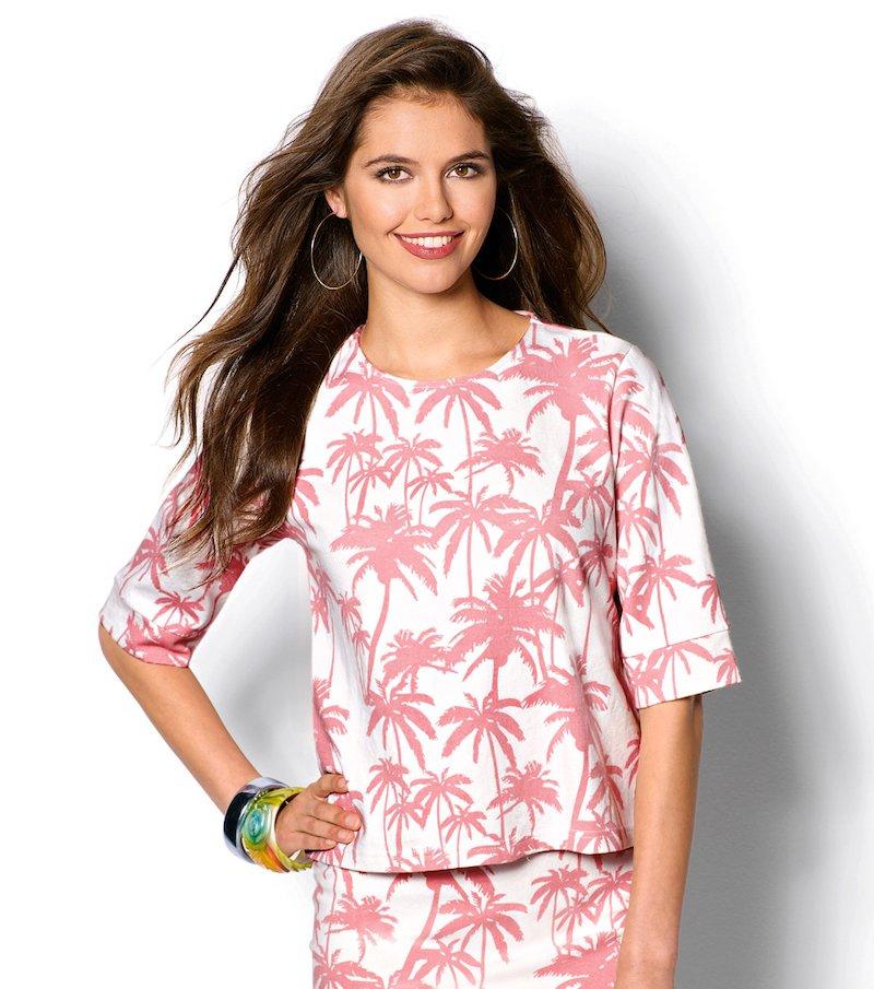 Camiseta mujer manga corta palmeras