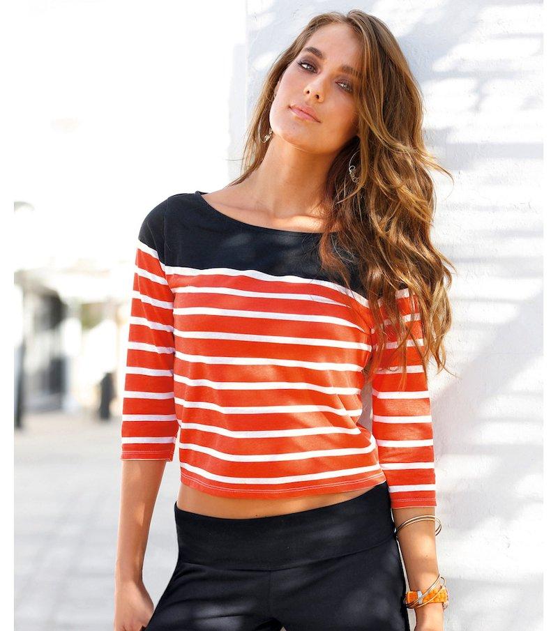 Camiseta mujer manga 3/4 punto rayas marineras navy - Negro