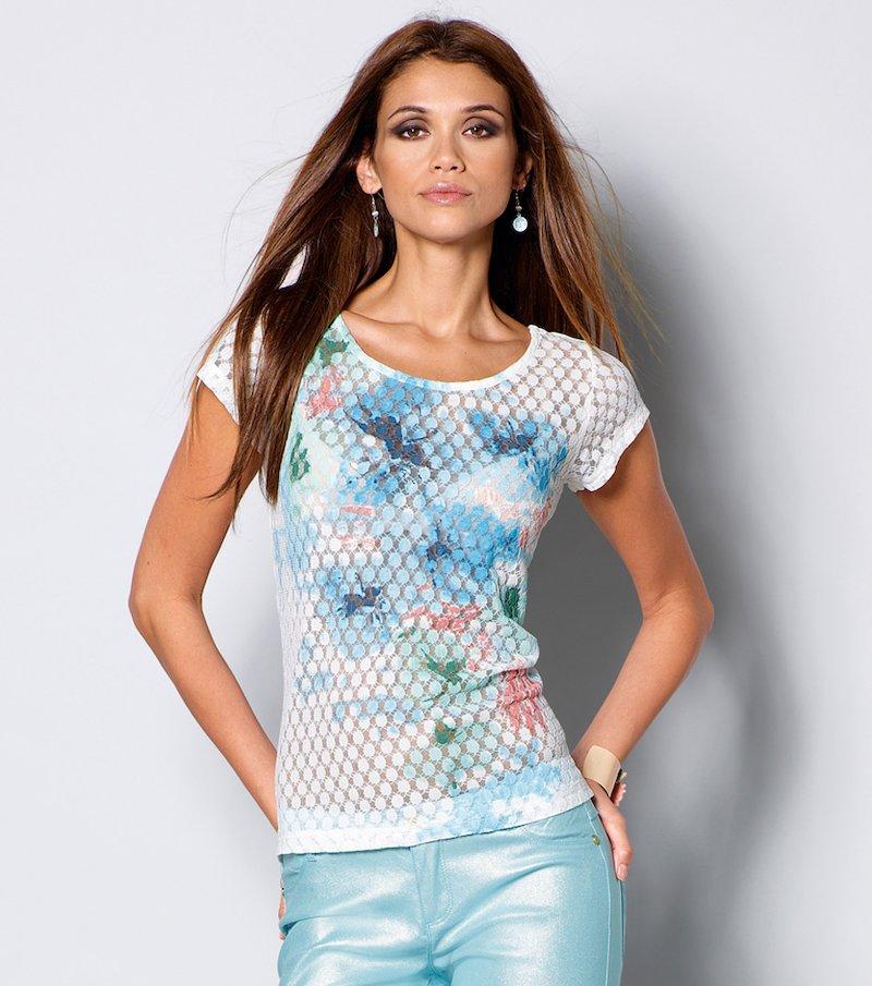 Camiseta mujer estampada punto semitransparente - Crudo