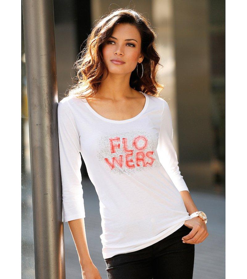 Camiseta mujer estampada con Flowers - Blanco
