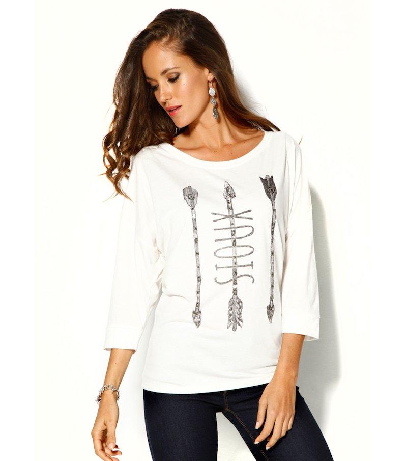 Camiseta mujer manga 3/4 estampada con abalorios
