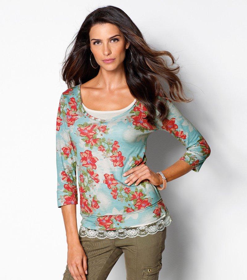 Camiseta de mujer manga 3/4 estampada floral - Azul