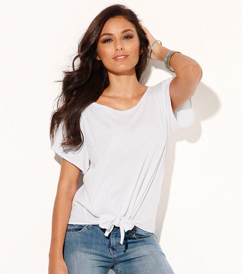 Camiseta mujer manga corta anudada delante