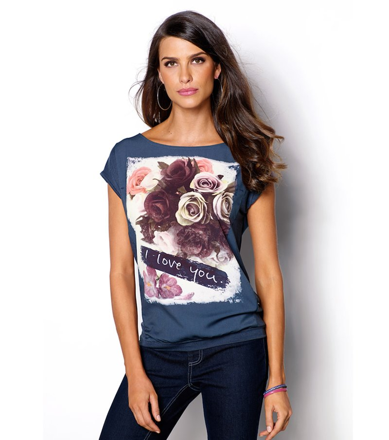 Camiseta mujer manga corta estampada con satén