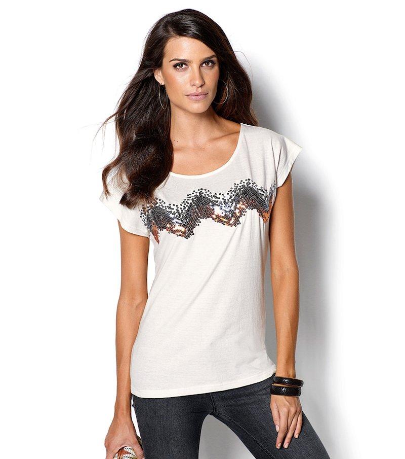 Camiseta mujer manga corta lentejuelas en el pecho