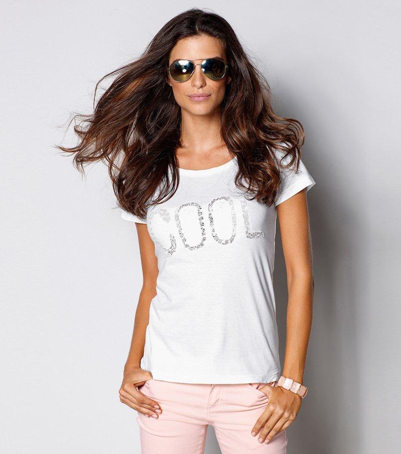 Camiseta mujer manga corta con blonda