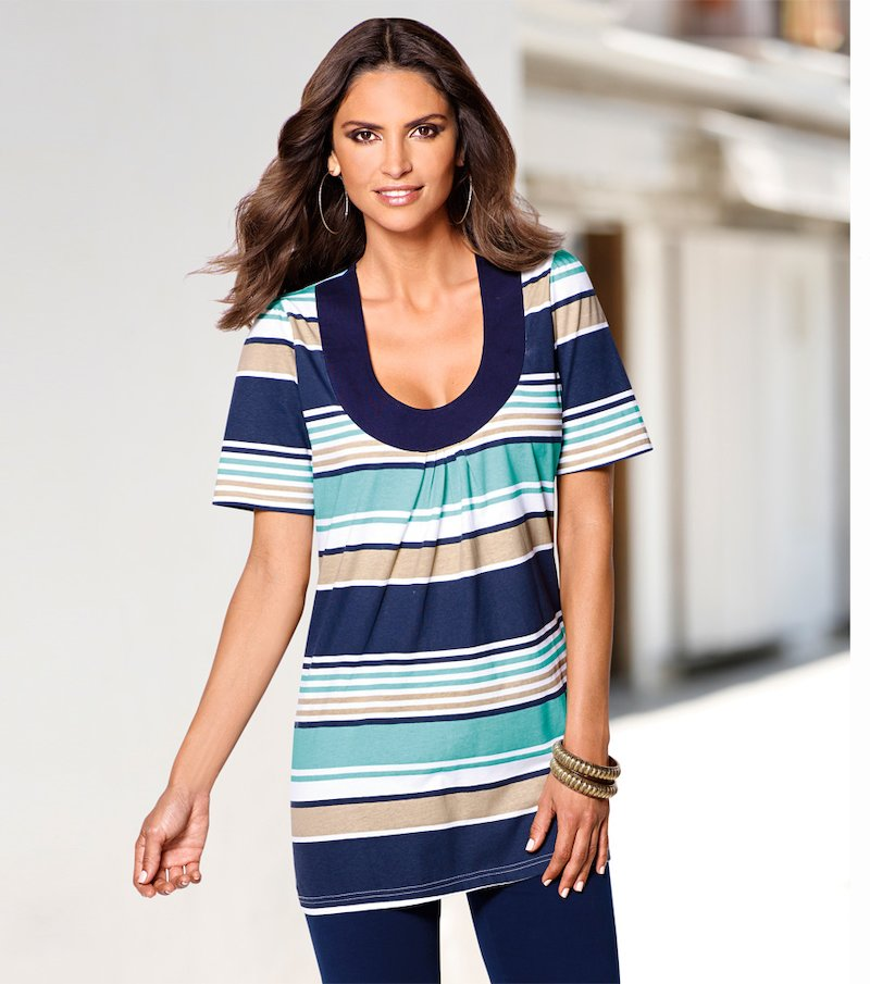 Camiseta mujer manga corta grandes rayas 100% algodón - Blanco