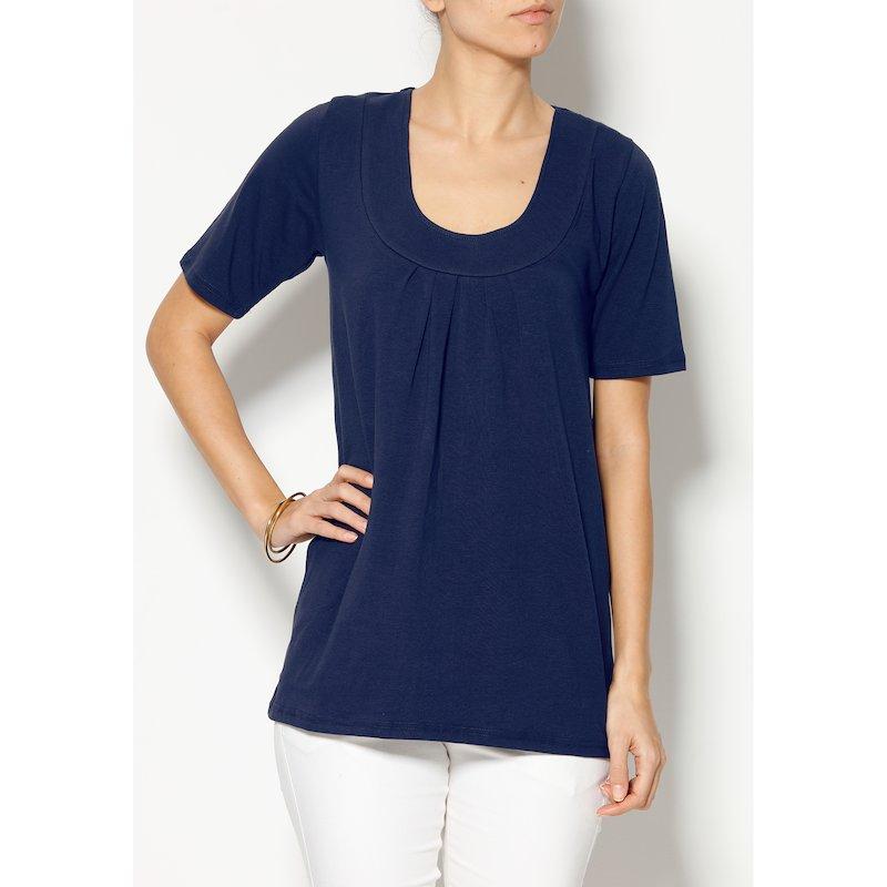 Camiseta evasé mujer manga corta 100% algodón - Azul