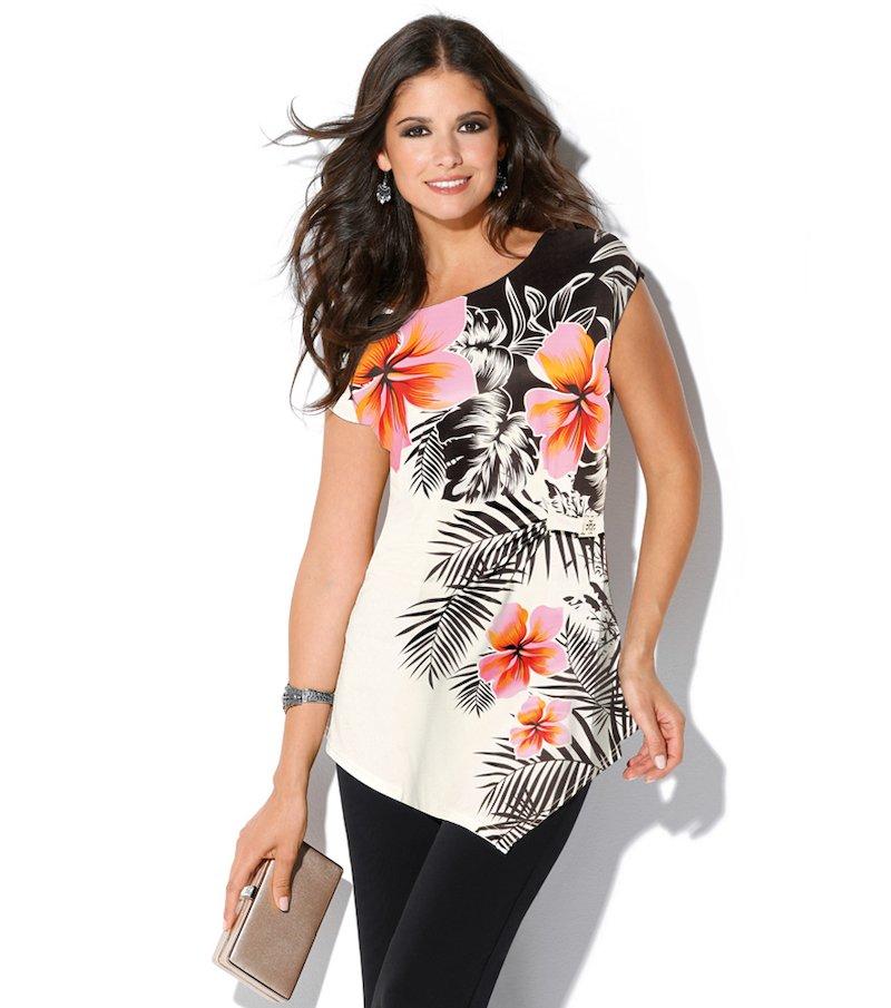 Camiseta mujer manga corta estampada tropical