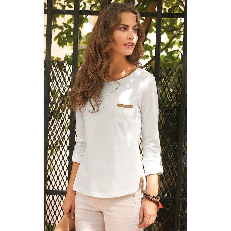 Camiseta mujer de manga larga algodón con antelina