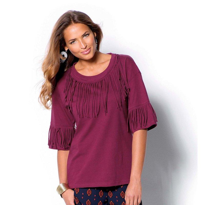 Camiseta de mujer manga 3/4 con flecos - Rojo