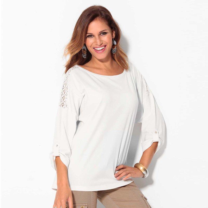 Camiseta mujer manga 3/4 regulable con guipur
