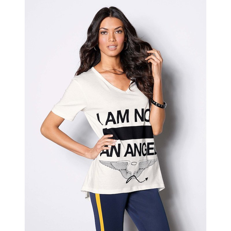 Camiseta mujer manga corta estampada Angel