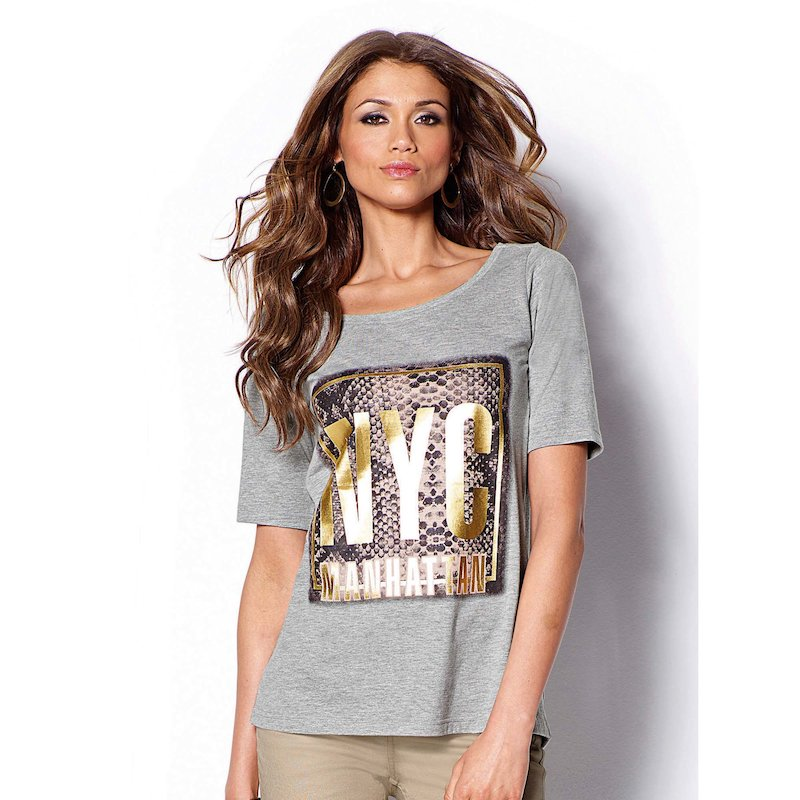 Camiseta mujer manga corta estampado metalizado