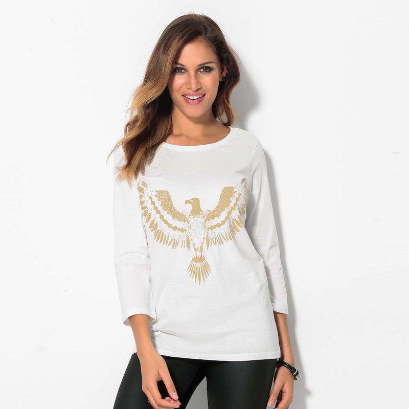 Camiseta mujer estampado águila con aplicaciones