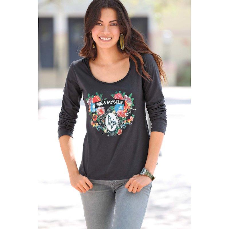 Camiseta mujer manga larga estampada con strass - Gris